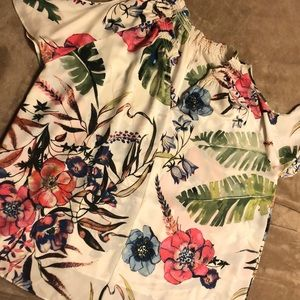 EUC Flowing Floral Top with open shoulder